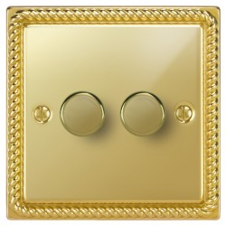 Focus SB Georgian GPB21.2 2 gang 2 way 250W (mains and low voltage) dimmer in Polished Brass