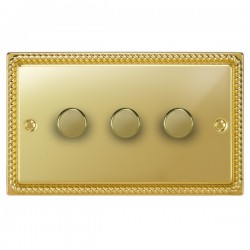 Focus SB Georgian GPB21.3 3 gang 2 way 250W (mains and low voltage) dimmer in Polished Brass