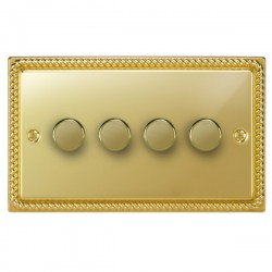 Focus SB Georgian GPB21.4 4 gang 2 way 250W (mains and low voltage) dimmer in Polished Brass