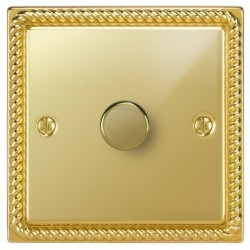Focus SB Georgian GPB22.1 1 gang 2 way 400W (mains and low voltage) dimmer in Polished Brass