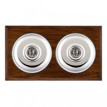 Hamilton Bloomsbury Chamfered Dark Oak Plain Bright Chrome 2 Gang Intermediate Toggle with Black Insert