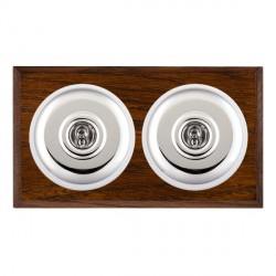 Hamilton Bloomsbury Chamfered Dark Oak Plain Bright Chrome 2 Gang Intermediate Toggle with White Insert