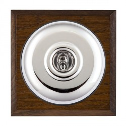 Hamilton Bloomsbury Chamfered Dark Oak Plain Bright Chrome 1 Gang Double Pole Toggle with Black Insert