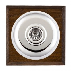 Hamilton Bloomsbury Chamfered Dark Oak Plain Bright Chrome 1 Gang Double Pole Toggle with White Insert