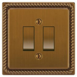 Focus SB Georgian GBA11.2 2 gang 20 amp 2 way rocker switch in Bronze Antique