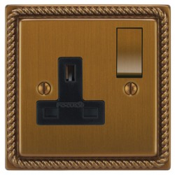 Focus SB Georgian GBA18.1B 1 gang 13 amp switched socket in Bronze Antique with black inserts