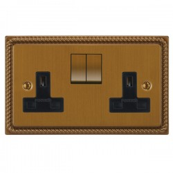 Focus SB Georgian GBA18.2B 2 gang 13 amp switched socket in Bronze Antique with black inserts