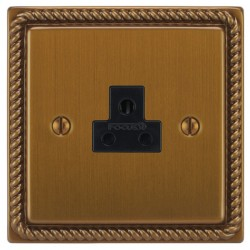 Focus SB Georgian GBA19.1B 1 gang 2 amp unswitched socket in Bronze Antique with black inserts