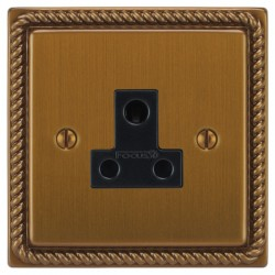 Focus SB Georgian GBA20.1B 1 gang 5 amp unswitched socket in Bronze Antique with black inserts