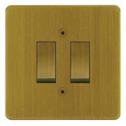 Focus SB Horizon HAB11.2 trimless 2 gang 20 amp 2 way rocker switch in Antique Brass