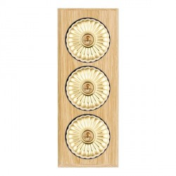 Hamilton Bloomsbury Chamfered Light Oak Fluted Polished Brass 3 Gang 2 Way Toggle with Black Insert