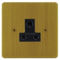 Focus SB Horizon HAB20.1B 1 gang 5 amp unswitched socket in Antique Brass with black inserts