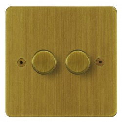 Focus SB Horizon HAB21.2 2 gang 2 way 250W (mains and low voltage) dimmer in Antique Brass