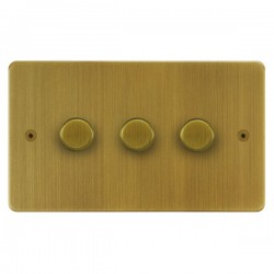 Focus SB Horizon HAB21.3 3 gang 2 way 250W (mains and low voltage) dimmer in Antique Brass