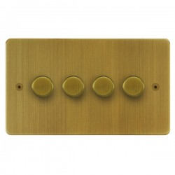 Focus SB Horizon HAB21.4 4 gang 2 way 250W (mains and low voltage) dimmer in Antique Brass