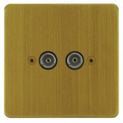 Focus SB Horizon HAB23.2 2 gang isolated co-axial TV socket in Antique Brass