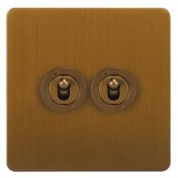 Focus SB Horizon HBA14.2 2 gang 20 amp 2 way toggle switch in Bronze Antique