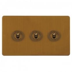 Focus SB Horizon HBA14.3 3 gang 20 amp 2 way toggle switch in Bronze Antique