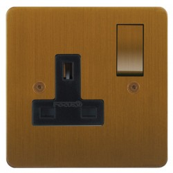 Focus SB Horizon HBA18.1B 1 gang 13 amp switched socket in Bronze Antique with black inserts