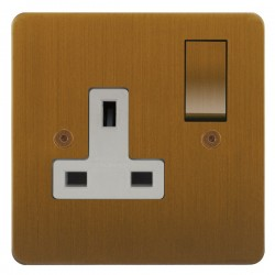 Focus SB Horizon HBA18.1W 1 gang 13 amp switched socket in Bronze Antique with white inserts