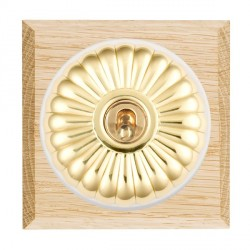 Hamilton Bloomsbury Chamfered Light Oak Fluted Polished Brass 1 Gang Double Pole Toggle with White Insert