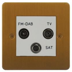 Focus SB Horizon HBA80.3W triplex TV/FM/Satellite outlet in Bronze Antique with white inserts