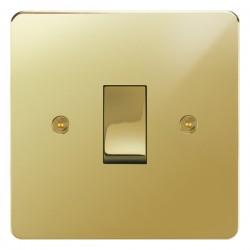 Focus SB Horizon HPB11.1 trimless 1 gang 20 amp 2 way rocker switch in Polished Brass
