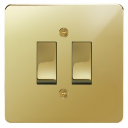 Focus SB Horizon HPB11.2 trimless 2 gang 20 amp 2 way rocker switch in Polished Brass
