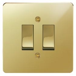 Focus SB Horizon HPB11.2 trimless 2 gang 20 amp 2 way rocker switch in Polished Brass