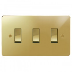 Focus SB Horizon HPB11.3 trimless 3 gang 20 amp 2 way rocker switch in Polished Brass
