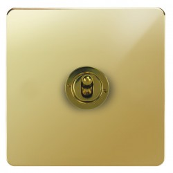 Focus SB Horizon HPB14.1 1 gang 20 amp 2 way toggle switch in Polished Brass