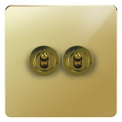 Focus SB Horizon HPB14.2 2 gang 20 amp 2 way toggle switch in Polished Brass