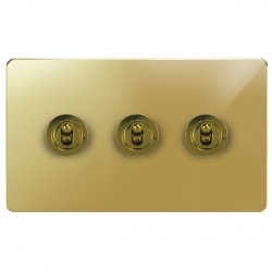 Focus SB Horizon HPB14.3 3 gang 20 amp 2 way toggle switch in Polished Brass