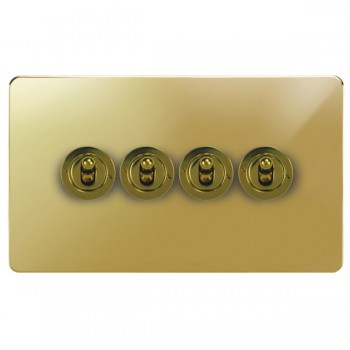 Focus SB Horizon HPB14.4 4 gang 20 amp 2 way toggle switch in Polished Brass