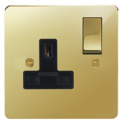 Focus SB Horizon HPB18.1B 1 gang 13 amp switched socket in Polished Brass with black inserts