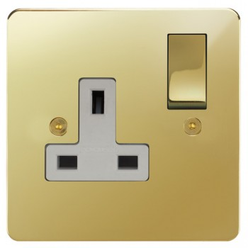 Focus SB Horizon HPB18.1W 1 gang 13 amp switched socket in Polished Brass with white inserts