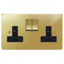Focus SB Horizon HPB18.2B 2 gang 13 amp switched socket in Polished Brass with black inserts