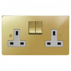 Focus SB Horizon HPB18.2W 2 gang 13 amp switched socket in Polished Brass with white inserts