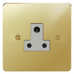 Focus SB Horizon HPB20.1W 1 gang 5 amp unswitched socket in Polished Brass with white inserts