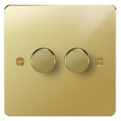 Focus SB Horizon HPB21.2 2 gang 2 way 250W (mains and low voltage) dimmer in Polished Brass