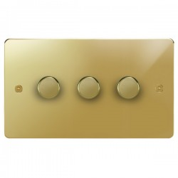 Focus SB Horizon HPB21.3 3 gang 2 way 250W (mains and low voltage) dimmer in Polished Brass