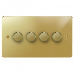 Focus SB Horizon HPB21.4 4 gang 2 way 250W (mains and low voltage) dimmer in Polished Brass