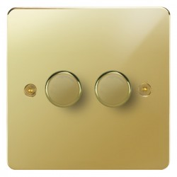 Focus SB Horizon HPB22.2 2 gang 2 way 400W (mains and low voltage) dimmer in Polished Brass