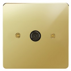 Focus SB Horizon HPB23.1 1 gang isolated co-axial TV socket in Polished Brass