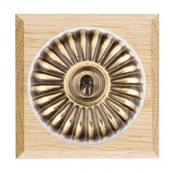 Hamilton Bloomsbury Chamfered Light Oak Fluted Antique Brass 1 Gang Double Pole Toggle with White Insert
