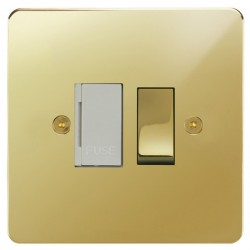 Focus SB Horizon HPB26.1W 13 amp switched fuse spur in Polished Brass with white inserts