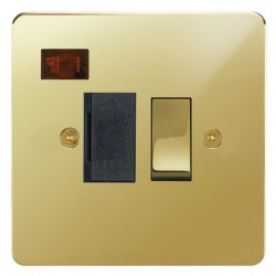 Focus SB Horizon HPB27.1B 13 amp switched fuse spur with neon in Polished Brass with black inserts