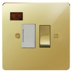 Focus SB Horizon HPB27.1W 13 amp switched fuse spur with neon in Polished Brass with white inserts