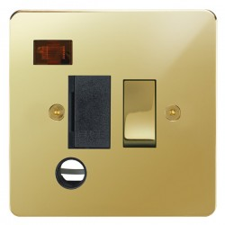 Focus SB Horizon HPB29.1B 13 amp switched fuse spur with cord outlet and neon in Polished Brass with blac...
