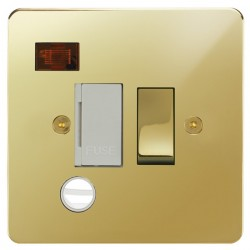 Focus SB Horizon HPB29.1W 13 amp switched fuse spur with cord outlet and neon in Polished Brass with whit...